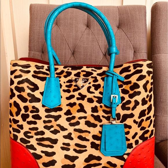 f5043262226 Authentic New Prada Ostrich Leopard Calf Hair Bag